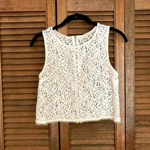 White lace cropped top with gold zipper back